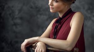 Alexey Kishechkin Women Alina Samsonova Brunette Hairbun Looking Away Head Tilted Blouse Red Clothin 2160x2160 Wallpaper