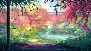Christian Benavides Digital Art Fantasy Art Wind Chimes Asian Architecture Garden Bridge Fence River 3840x2160 Wallpaper