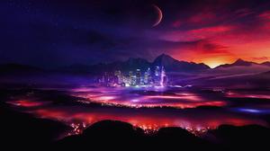 Night Moon Sky Mountain 3840x2160 Wallpaper