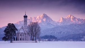 Germany Bavaria Winter Snow Trees Sunset Mountains Church Alps Sky Nature Landscape 2145x1080 Wallpaper