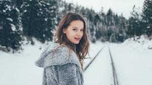 Brunette Women Model Young Woman Grey Jacket Jacket Looking Over Shoulder Winter Snow 853x1280 wallpaper