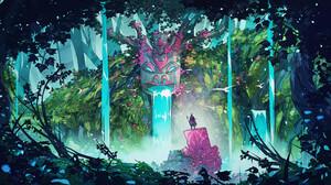 Christian Benavides Digital Art Fantasy Art Waterfall Ruins Statue Men Forest Birds 3840x2160 Wallpaper