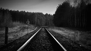 Railway Crossing Monochrome Landscape Railway 3546x1994 Wallpaper