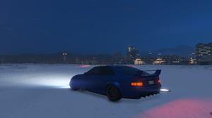 Sultan RS Grand Theft Auto V Night Sky Snow City Los Angeles Airport 3840x2160 Wallpaper