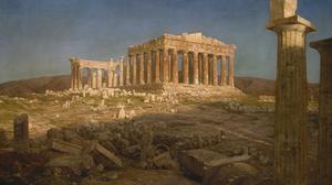 Artwork Painting Ruins Greece Column Classic Art 1920x1080 Wallpaper