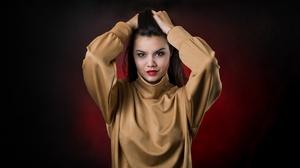 Black Hair Brown Eyes Girl Lipstick Model Woman 4500x2300 Wallpaper