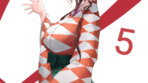 Zombieland Saga Standing Kimono Long Hair Long Skirt Smile Anime Girls Looking At Viewer Red Eyes Zo 2937x4093 wallpaper