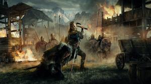 Imad Awan Warrior Lagertha Lothbrok Fire War Assassins Creed Assassins Creed Valhalla Lagertha Digit 3840x2048 wallpaper