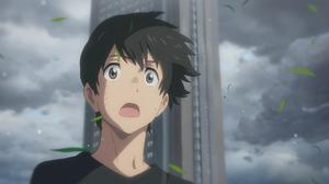Tenki No Ko Anime Hodaka Morishima Sky Open Mouth Dark Hair Anime Boys Clouds Black T Shirt Brown Ey 1920x1080 Wallpaper