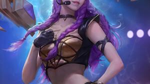 LENoth Z Artwork Asian Women Long Hair Twintails Standing Purple Hair Headsets Gloves Fingerless Glo 1920x2400 Wallpaper