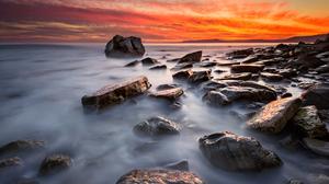 Nature Ocean Rock Sunrise 5633x3760 wallpaper