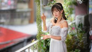 Asian Model Women Long Hair Dark Hair White Dress Hair Band Earrings Ponytail Plants Flowerpot Raili 3280x2187 Wallpaper