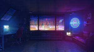 Digital Art Digital Bogdan MB0sco Apartment Night Neon Sign Guitar Computer Window Cityscape 1920x1080 Wallpaper