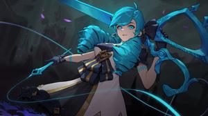 Gwen League Of Legends Girl Blue Hair 3840x2160 Wallpaper