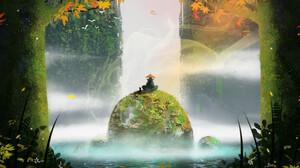 Digital Art Nature Asian Rock Plants Aleksandar Grachki Trees Leaves Water Fantasy Art ArtStation Ar 1920x1137 Wallpaper