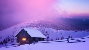 Winter Snow House Mountains Forest Fence Lights Sunset Sky Clouds Nature Landscape 4633x3500 Wallpaper