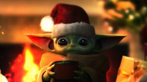 Baby Yoda Santa Hat Star Wars 3840x2160 Wallpaper