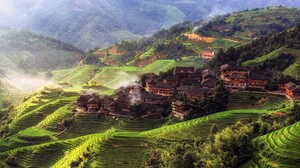 China Mountains House Trees Town Village Nature Landscape Asia Rice Paddy Morning Mist Hills Forest  1920x1080 Wallpaper