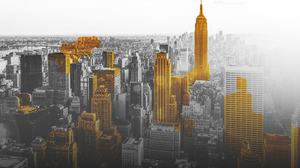 Gold City Black And Whit Digital Art New York City USA Selective Coloring Cityscape 2560x1600 Wallpaper