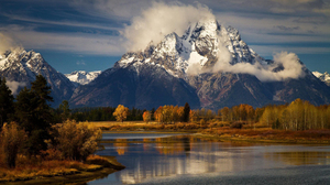 Landscape Nature Forest Water River Mountains Snowy Peak Clouds 1920x1200 Wallpaper