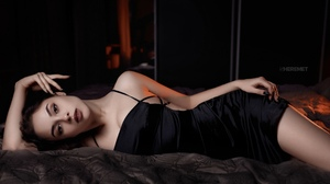 Women Model Brunette Looking At Viewer Brown Eyes Portrait Indoors In Bed Dress Black Dress Black Na 2560x1440 wallpaper