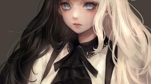Black Hair Dark Hair White Hair Gray Eyes Ribbon Ribbon On Clothes White Clothing Black Clothing Bla 1051x1400 Wallpaper