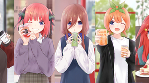 5 Toubun No Hanayome JK Ahoge Hair Ribbon Sisters Drinking Smiling Coffee Cup Headphones Casual Sitt 5205x2146 Wallpaper