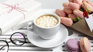 Bouquet Cup Drink Flower Gift Hot Chocolate Macaron Tulip 5118x3412 Wallpaper