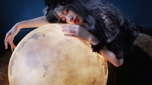 Girl Globe Sleeping Asian Lipstick Grey Hair 2048x1365 Wallpaper