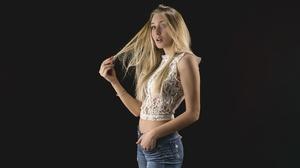 Model Women Blonde Mouth Lips Lipstick Open Mouth Blouse Jeans Hips Navels Bare Shoulders Bare Midri 10000x5625 Wallpaper