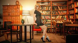 Women Blonde High Heels Socks Dress Books Lamp Table Chair Looking At Viewer Women Indoors Black Dre 2048x1152 Wallpaper