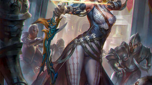 Jeremy Chong Drawing Fantasy Art Women Blonde Short Hair Feathers Bow Arrows Magic Fighting Archer 1760x2200 Wallpaper