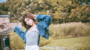 Asian Model Women Long Hair Brunette Jeans Jeans Jacket Grey Tops Trees Grass 5673x3787 Wallpaper