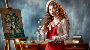 Women Indoors Women Indoors Painting Redhead Curly Hair Standing Looking At Viewer Paintbrushes Make 1920x1280 Wallpaper