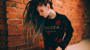 Aliona German Women Model Pierced Septum Dyed Hair Tattoo Dreadlocks 1920x1282 wallpaper