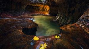 Nature Rock Cave Creeks Stones Fallen Leaves 1960x1307 Wallpaper