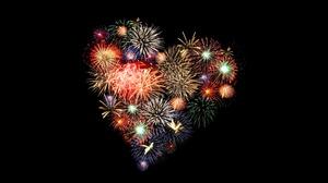 Fireworks Heart Shaped Night 7680x4320 Wallpaper