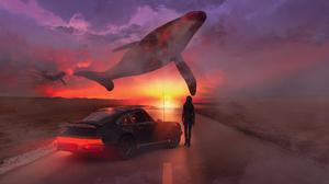 Digital Art Landscape Car Women Sunset Whale Clouds Shark90art Flying Whales 3840x2160 Wallpaper