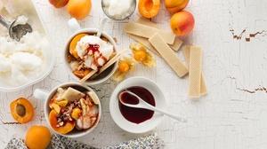 Apricot Dessert Fruit Ice Cream Still Life 4935x3290 Wallpaper
