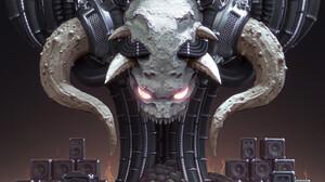 Skull Digital Art Horns Brain Creature Gradient 1600x2000 Wallpaper