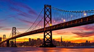 Bridge California San Francisco Sea Sky Sunset 3000x1500 wallpaper