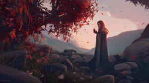 Artwork Digital Art Wojtek Fus Fantasy Art Women Fall Red Leaves Trees Landscape Mountains Rocks Red 1920x1044 Wallpaper