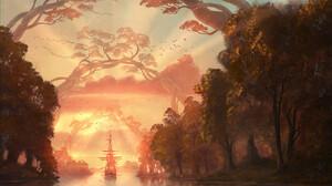 BenJ Fantasy Art Digital Art Ship Trees River Landscape 1300x867 Wallpaper