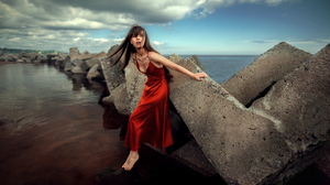 Red Dress Women Women Outdoors Water Concrete Brunette Barefoot 2560x1440 Wallpaper