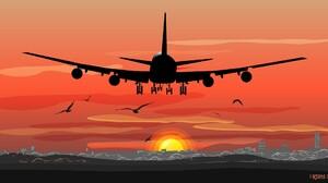 Digital Art Airplane Sunset Irisepus ArtStation Birds Silhouette Cityscape 1920x1131 Wallpaper