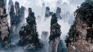 China Cliff Earth Fog Landscape Rock Tree Zhangjiajie National Park 2268x1512 wallpaper