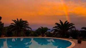 Palm Tree Pool Rainbow Sunset 2048x1360 Wallpaper
