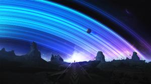 Digital Art T1na Space Stars Planetary Rings 2560x1440 Wallpaper