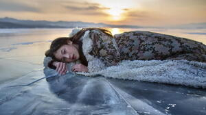 Asian Model Women Long Hair Brunette Lying Down Ice Depth Of Field Coats Sunset 1920x1080 Wallpaper
