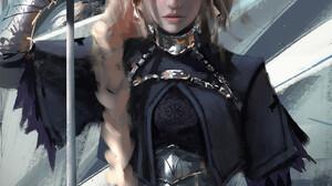 Artwork Fantasy Art Women Jeanne DArc Fate Fate Apocrypha Fate Series WLOP Blonde Braids Purple Eyes 1600x2280 wallpaper